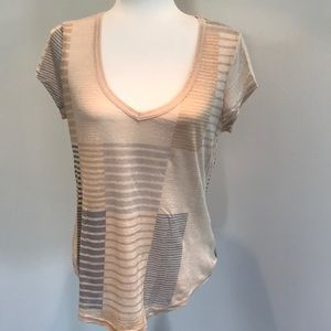 Madewell abstract striped neck top